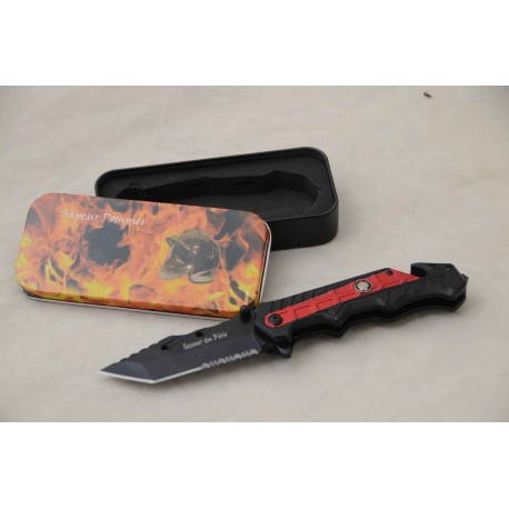 Coffret couteau pompier tactical, lame 9 cm
