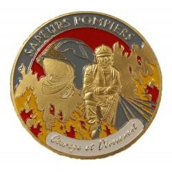 Médaillon Sapeur Pompier Courage et Dévouement