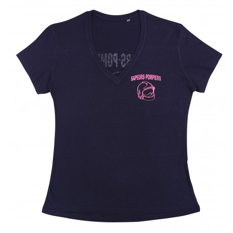 T-SHIRT FEMME Bleu Marine Fluo rose