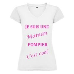 T-SHIRT MAMAN COOL BLANC COL V