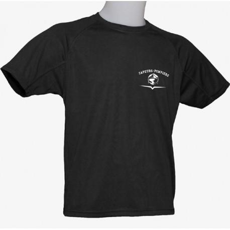 T-SHIRT SPORT Noir logo POMPIERS