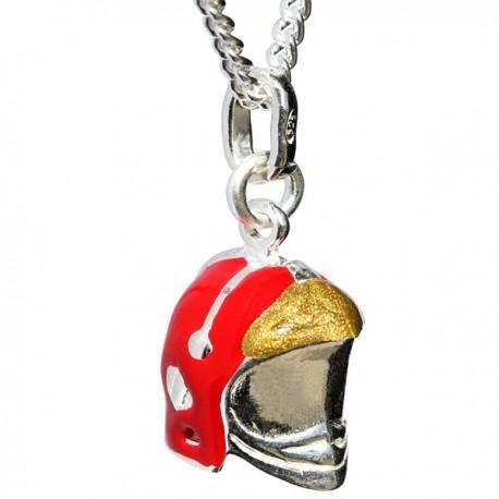 Pendentif casque F1 argent massif émaillé rouge
