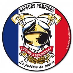 AUTOCOLLANT ROND SAPEURS-POMPIERS